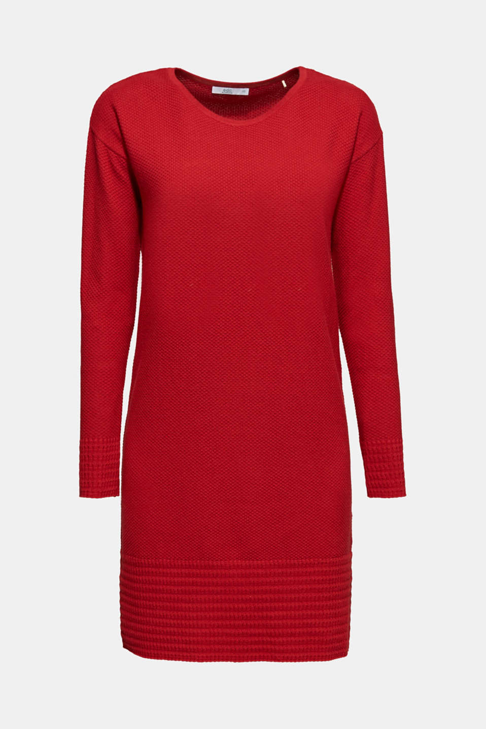 Textured knitted dress with organic cotton, RED, detail image number 6