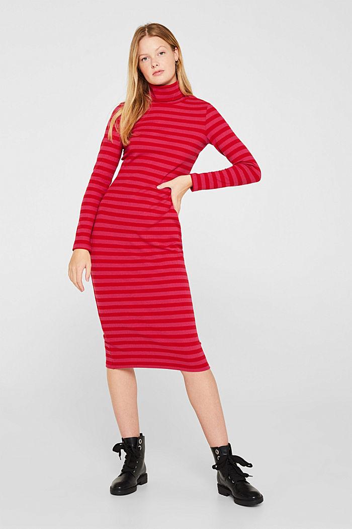 Stretch-Kleid mit Rippstruktur, PINK FUCHSIA, detail image number 0
