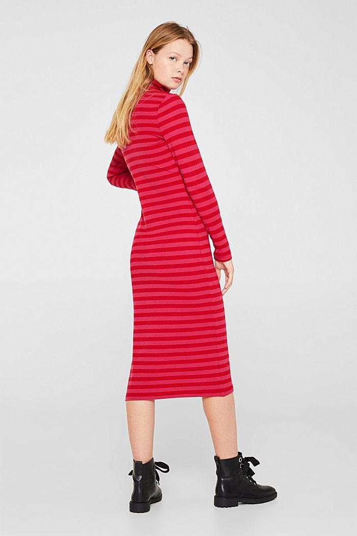 Stretch-Kleid mit Rippstruktur, PINK FUCHSIA, detail image number 2