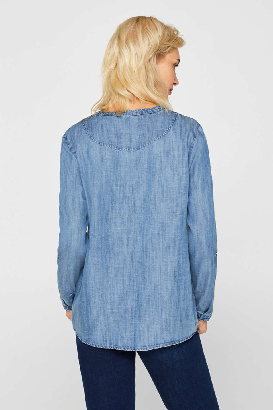 Made of TENCEL™: cool denim blouse, BLUE MEDIUM WASH, detail image number 3