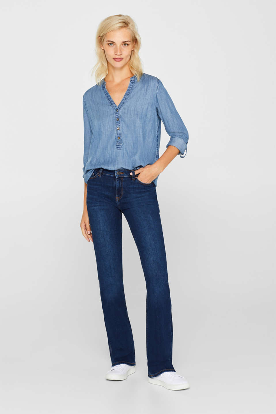 Made of TENCEL™: cool denim blouse, BLUE MEDIUM WASH, detail image number 1