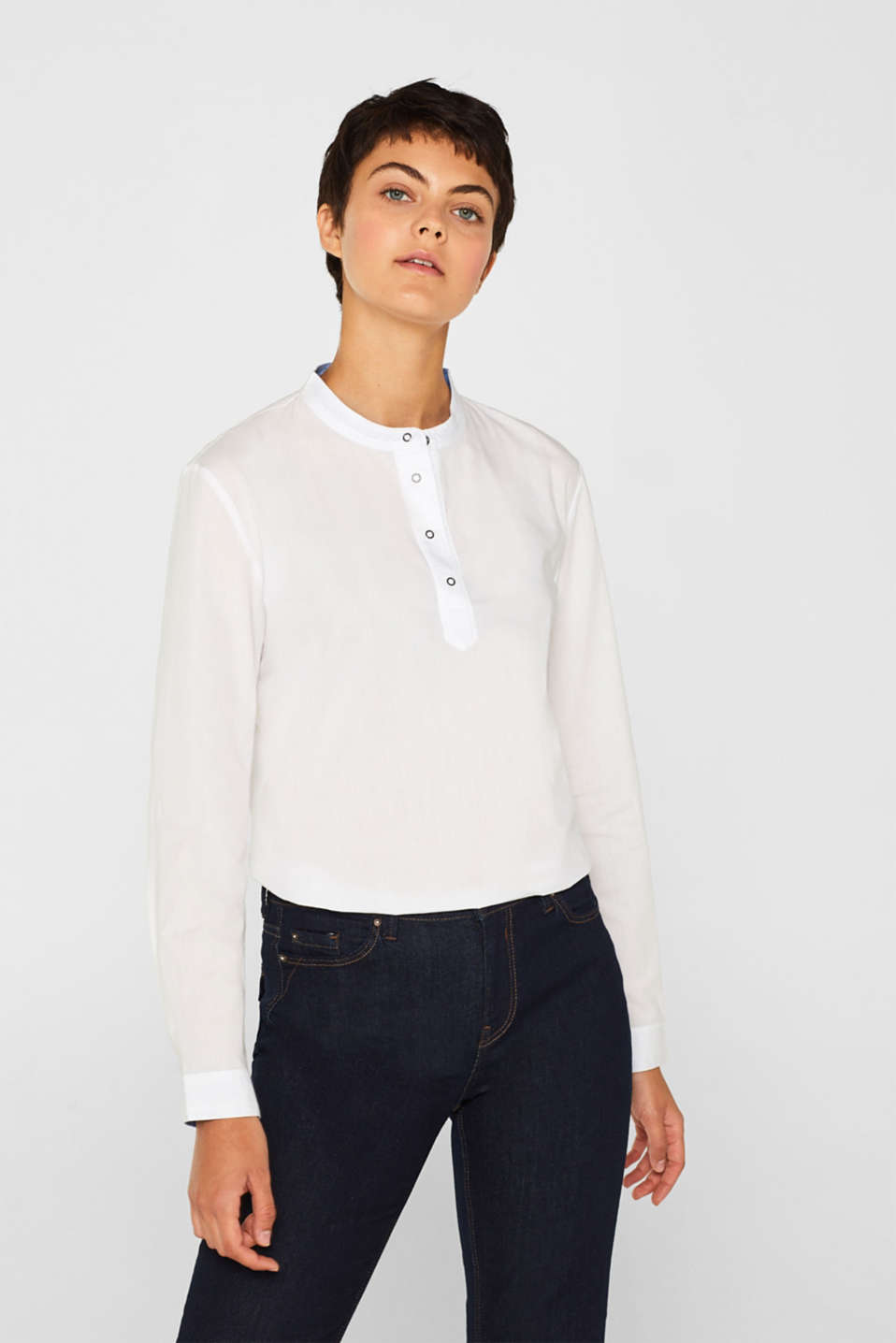 Blouse with a stand-up collar, 100% cotton, WHITE, detail image number 0