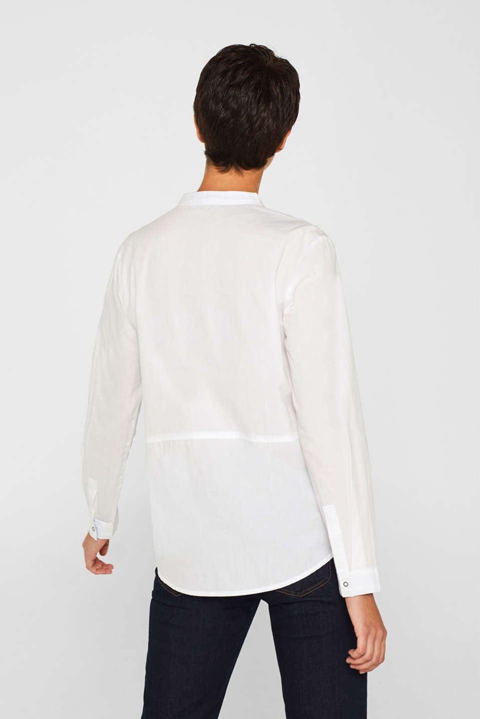 Blouse with a stand-up collar, 100% cotton, WHITE, detail image number 3