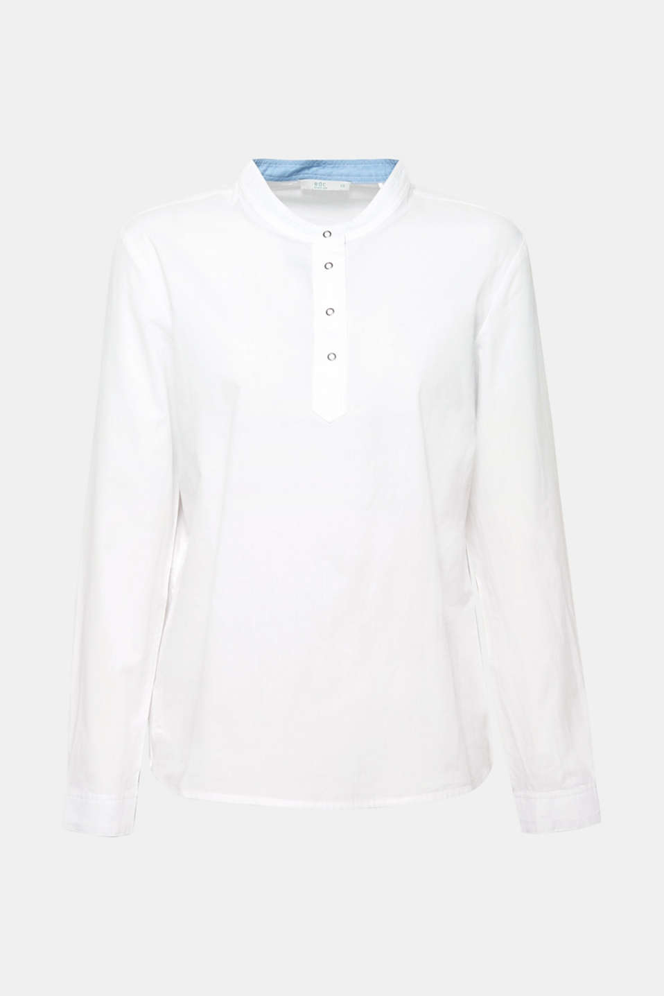Blouse with a stand-up collar, 100% cotton, WHITE, detail image number 5