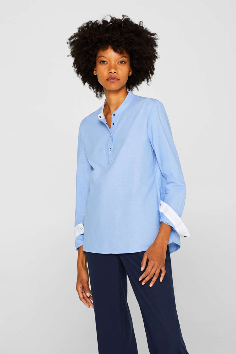edc - Chambray blouse with organic cotton, 100% cotton