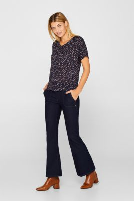 Blouse top with a fine print, NAVY, detail