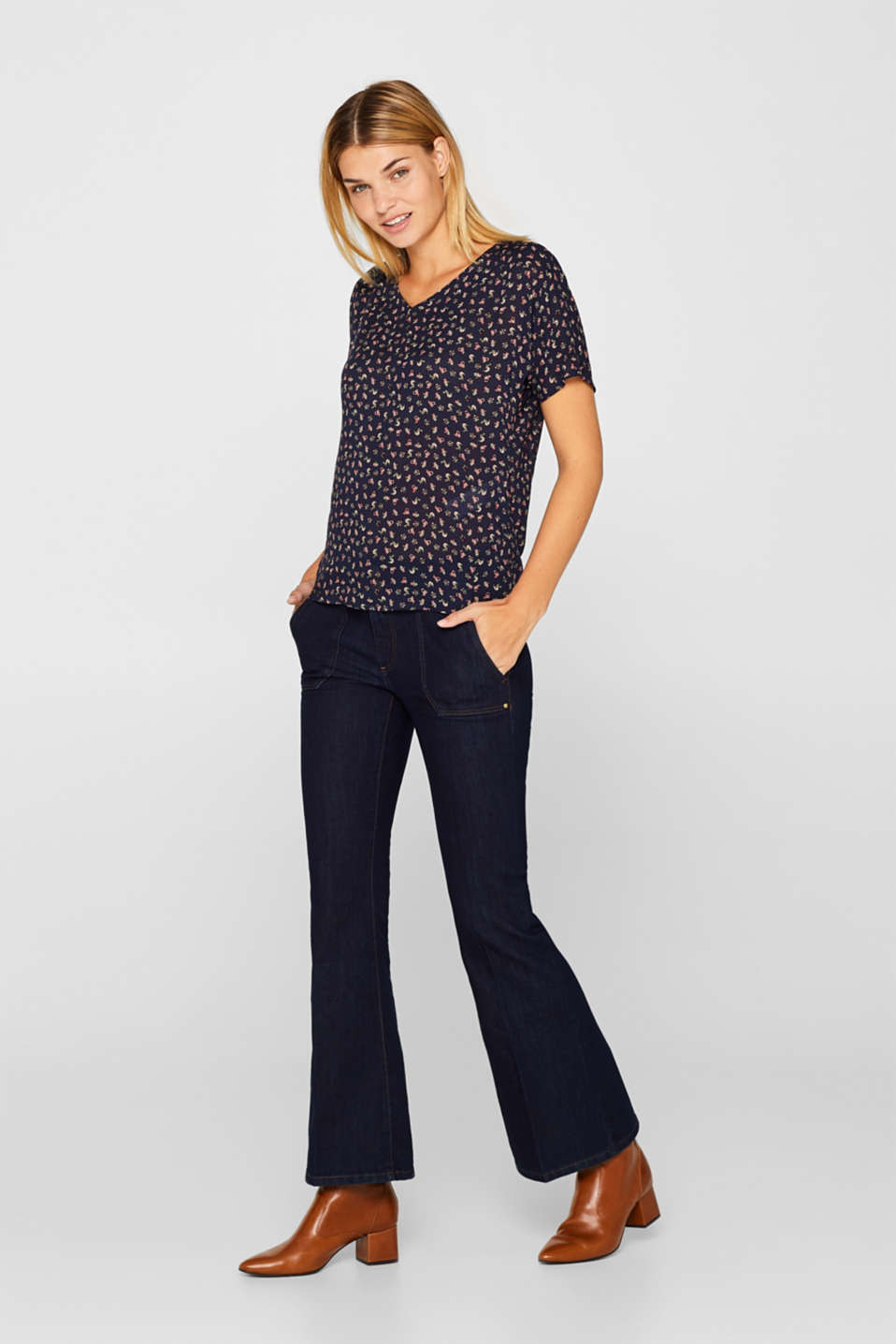Blouse top with a fine print, NAVY, detail image number 1