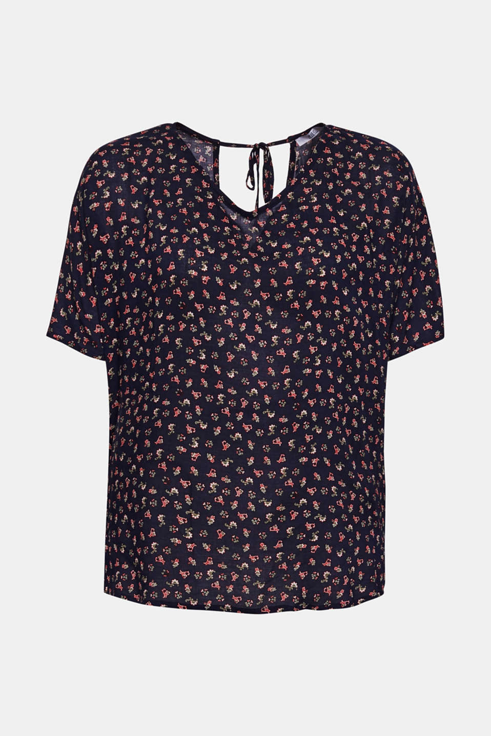 Blouse top with a fine print, NAVY, detail image number 7