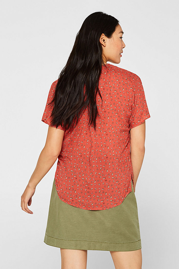 Blouse top with a fine print, TERRACOTTA, detail image number 3