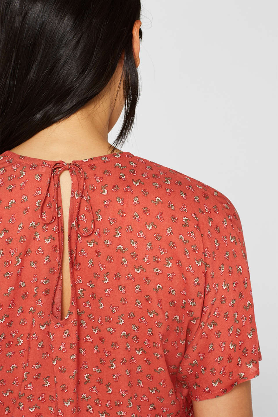 Blouse top with a fine print, TERRACOTTA, detail image number 2