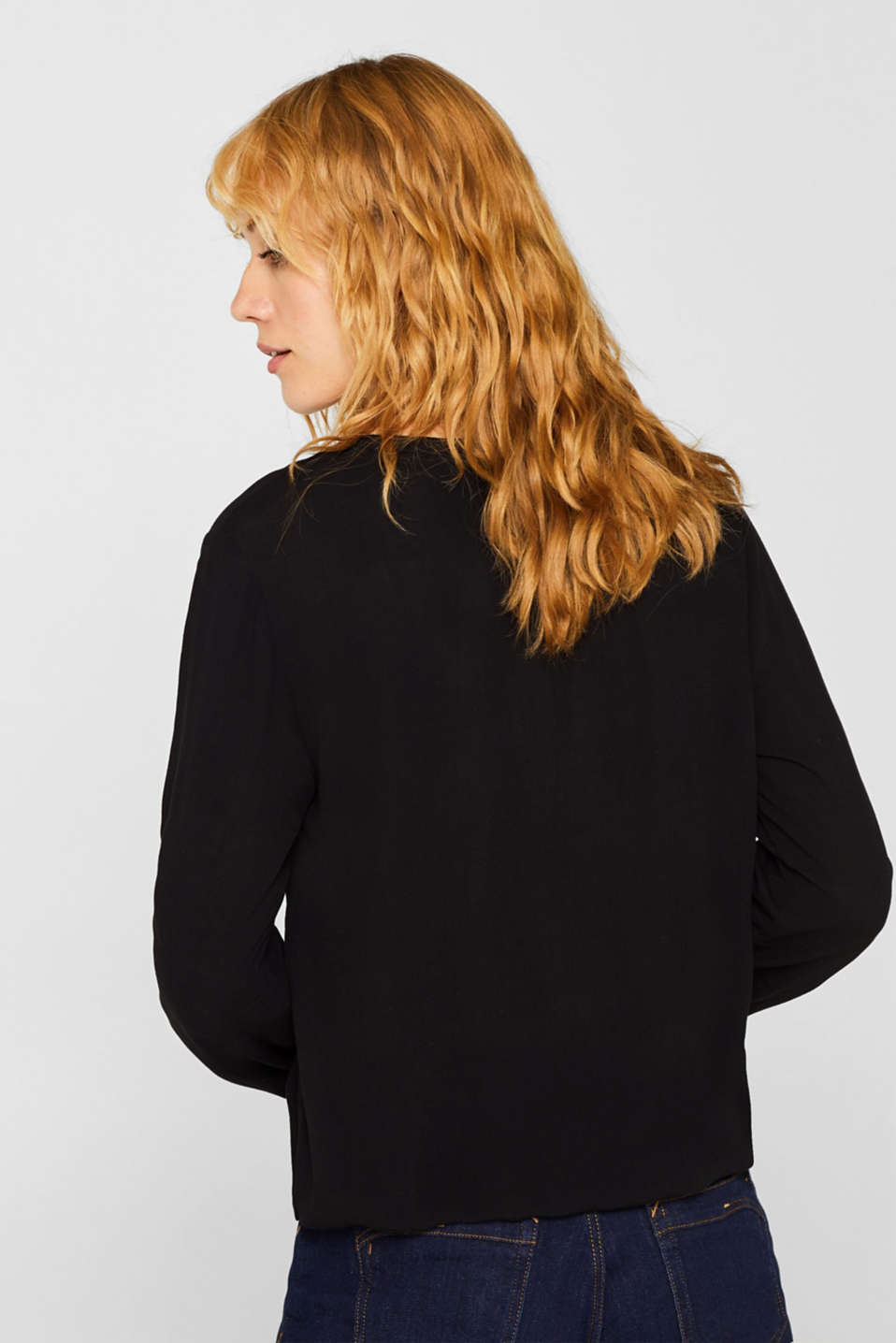 Textured Henley blouse with a balloon hem, BLACK, detail image number 3