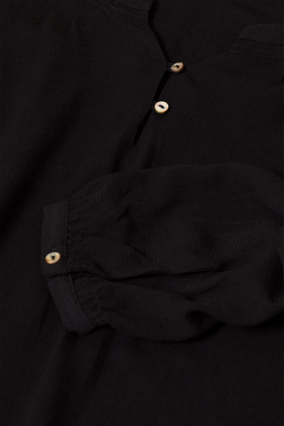Textured Henley blouse with a balloon hem, BLACK, detail image number 4