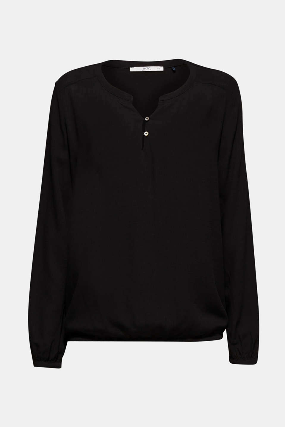 Textured Henley blouse with a balloon hem, BLACK, detail image number 5