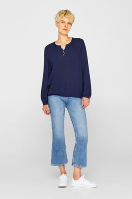 Textured Henley blouse with a balloon hem, NAVY 2, detail