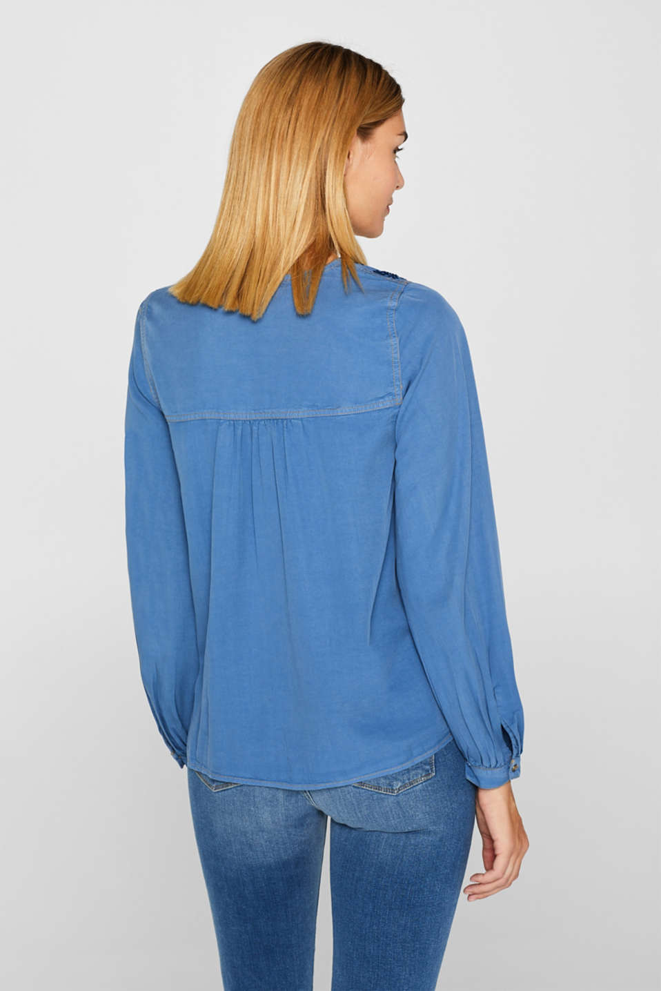 Tunic blouse made of lyocell, GREY BLUE, detail image number 3