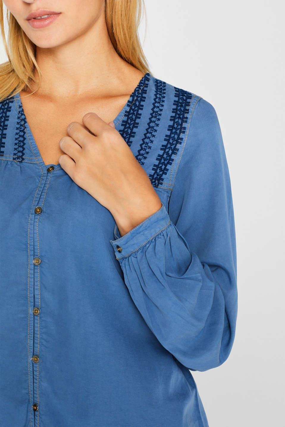 Tunic blouse made of lyocell, GREY BLUE, detail image number 2