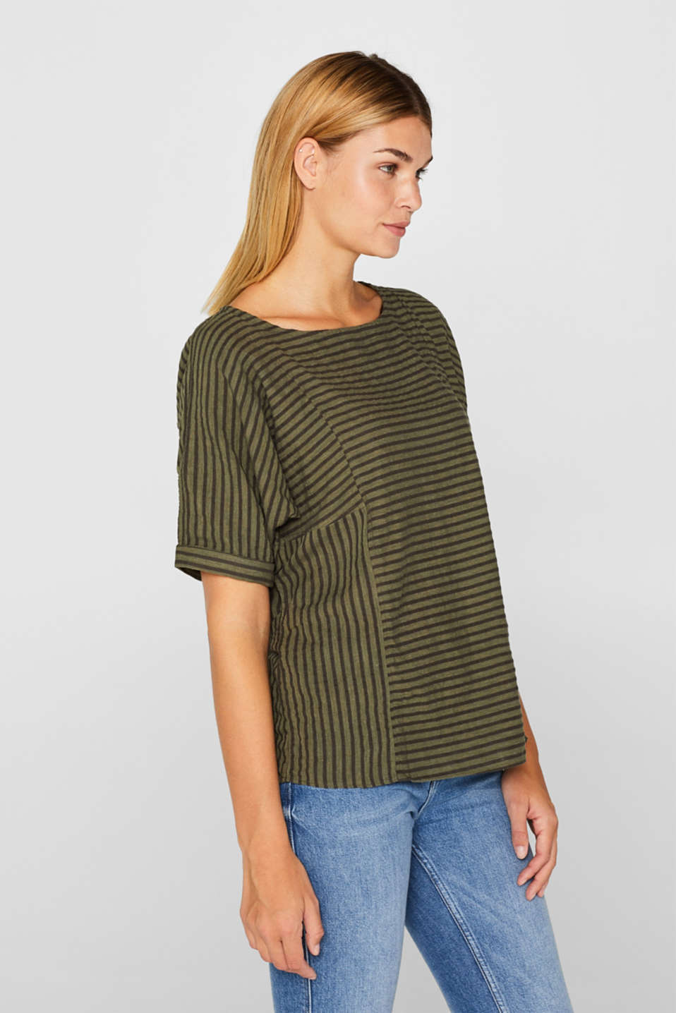 edc - Striped blouse top with organic cotton