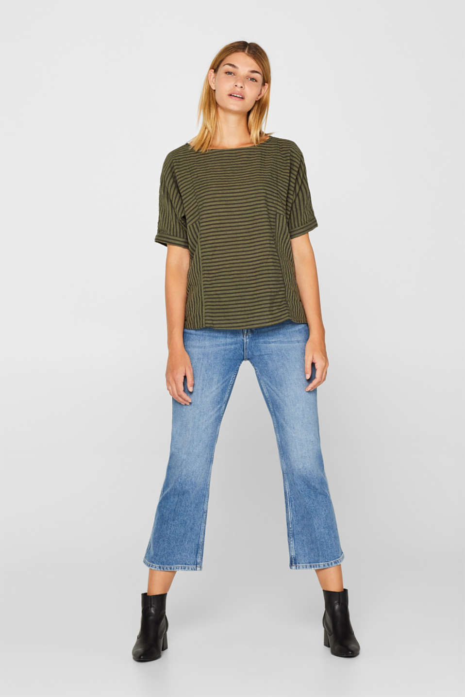 Striped blouse top with organic cotton, KHAKI GREEN, detail image number 1