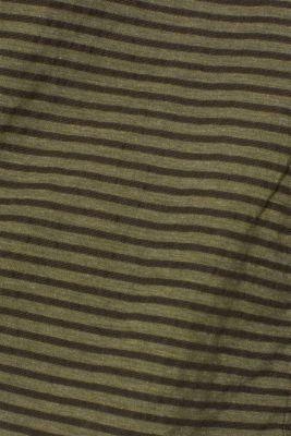 Striped blouse top with organic cotton, KHAKI GREEN, detail