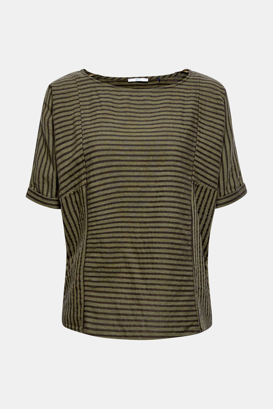Striped blouse top with organic cotton, KHAKI GREEN, detail image number 4