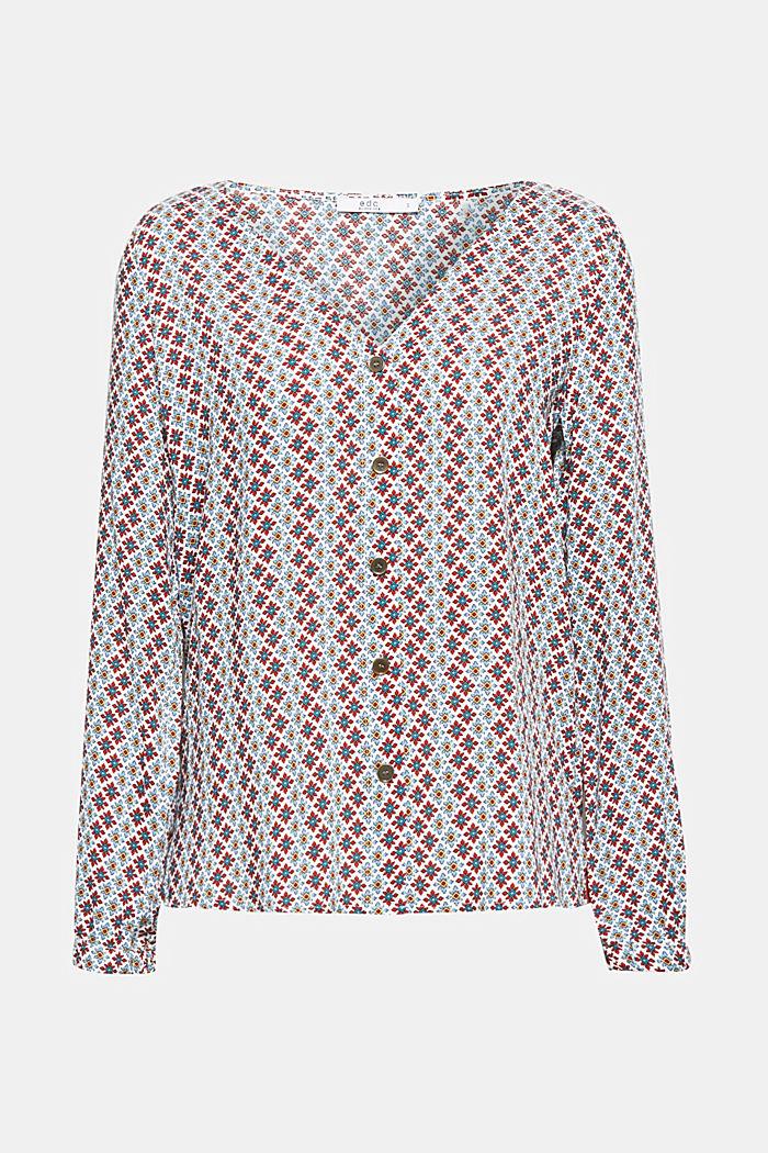 Printed V-neck blouse, OFF WHITE, detail image number 0