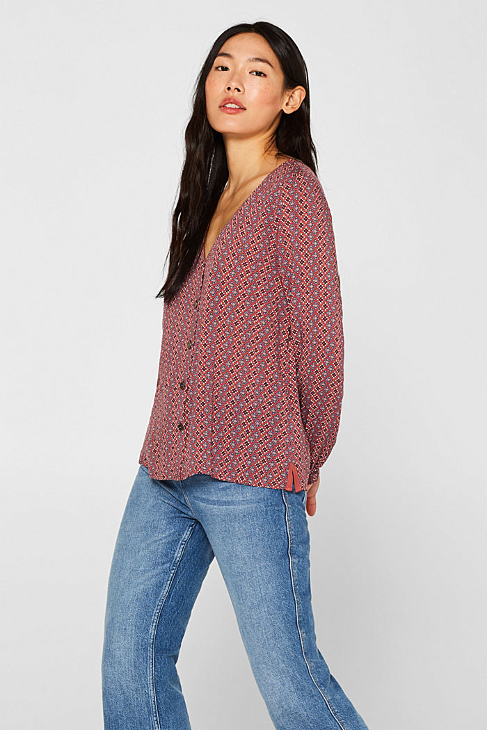 Printed V-neck blouse, DARK RED, overview