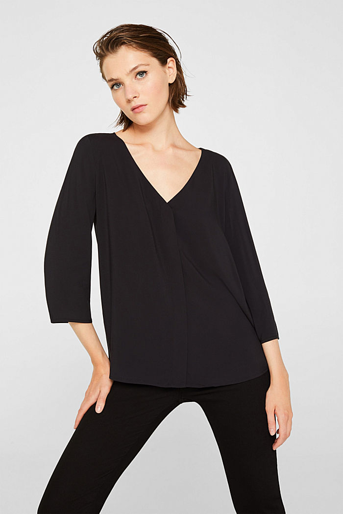 Blouse with front placket and three-quarter length sleeves, BLACK, detail image number 0