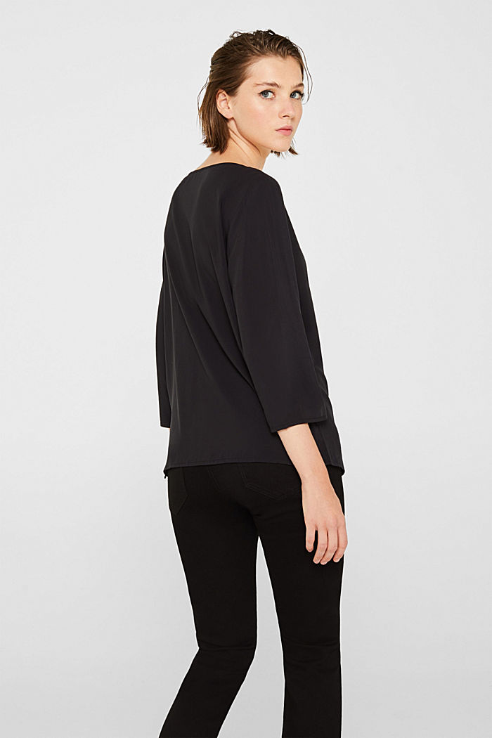 Blouse with front placket and three-quarter length sleeves, BLACK, detail image number 3
