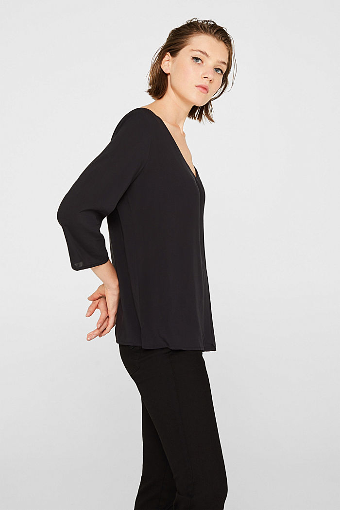 Blouse with front placket and three-quarter length sleeves, BLACK, detail image number 5