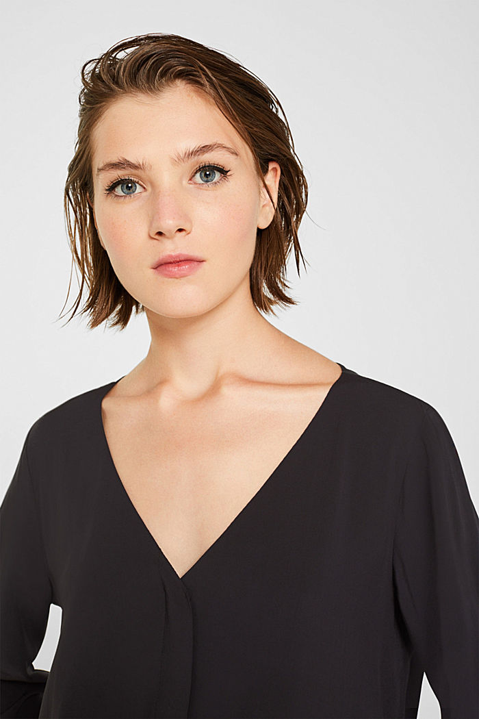 Blouse with front placket and three-quarter length sleeves, BLACK, detail image number 2