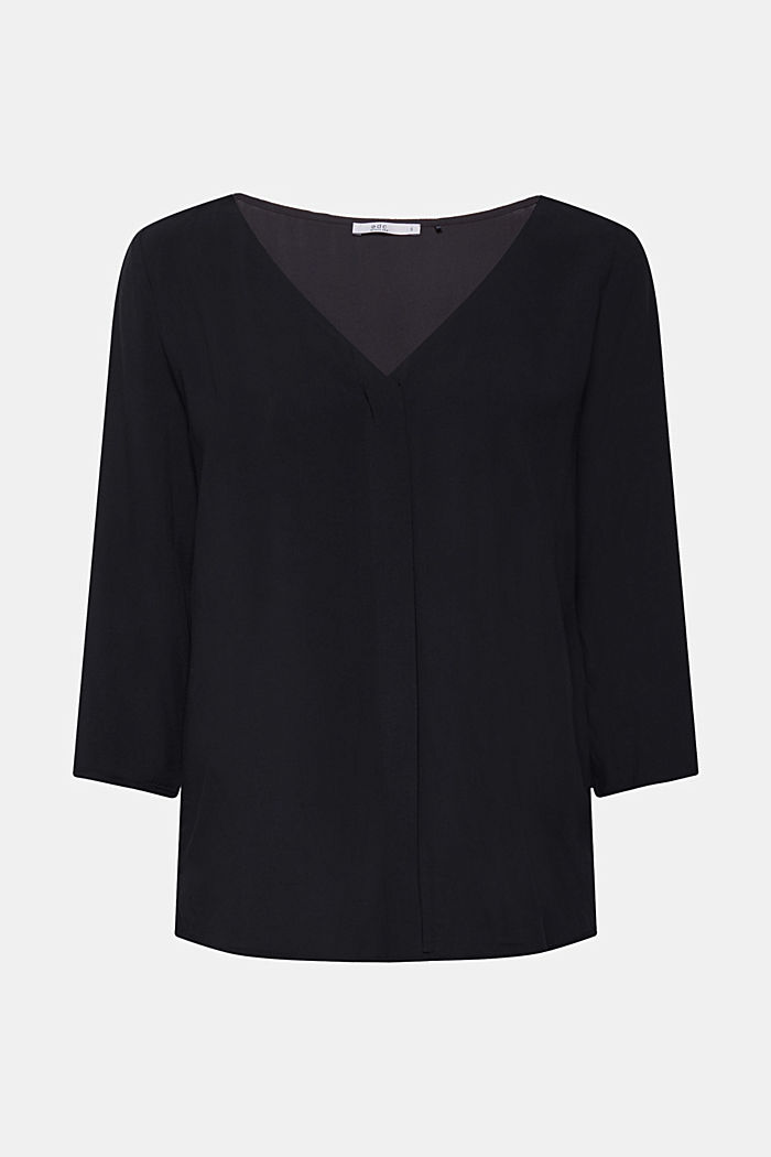 Blouse with front placket and three-quarter length sleeves, BLACK, detail image number 7