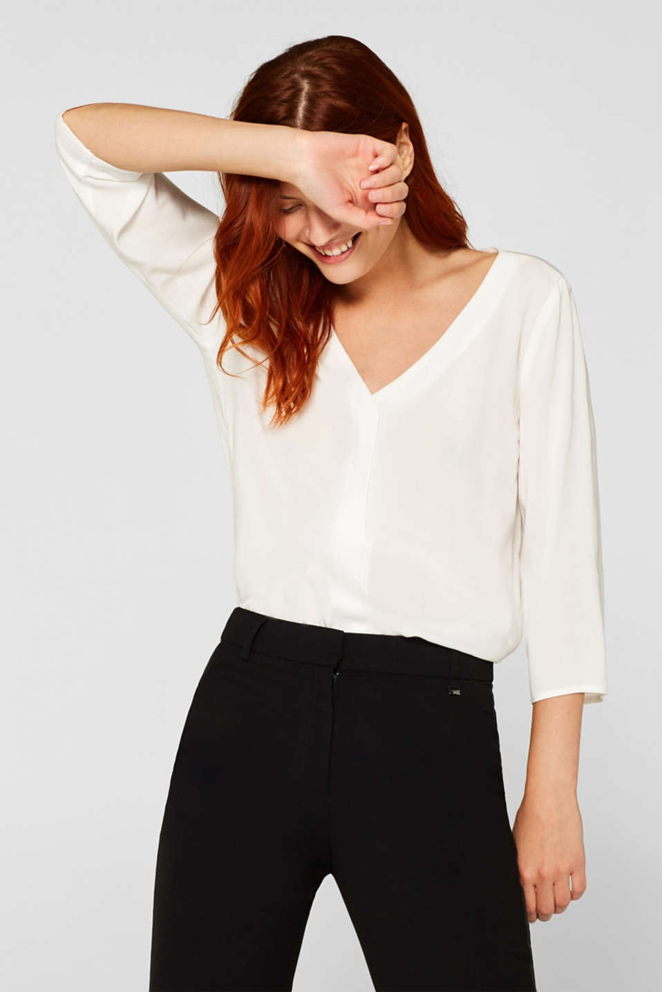 edc - Blouse with front placket and three-quarter length sleeves