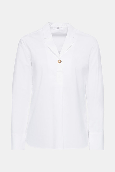 Slip-on blouse with a lapel collar, 100% cotton