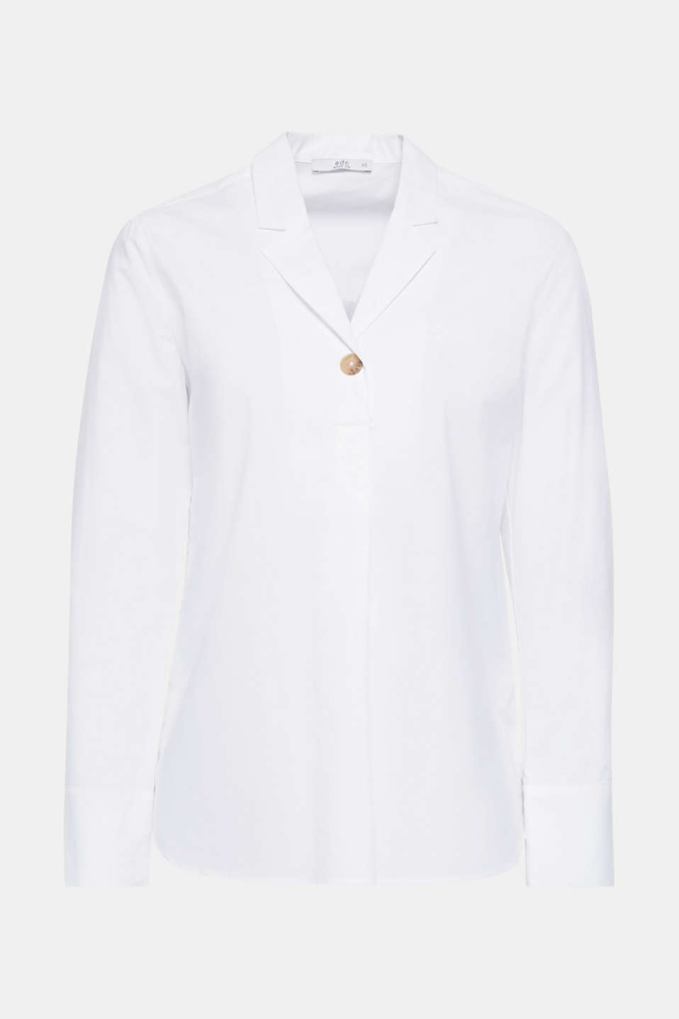 Slip-on blouse with a lapel collar, 100% cotton, WHITE, detail image number 6