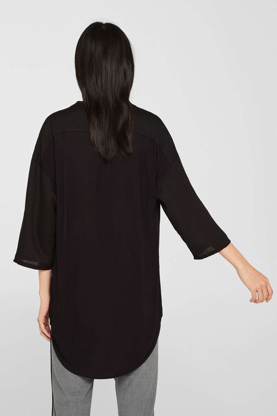 Blouse made of a material mix, BLACK, detail image number 3