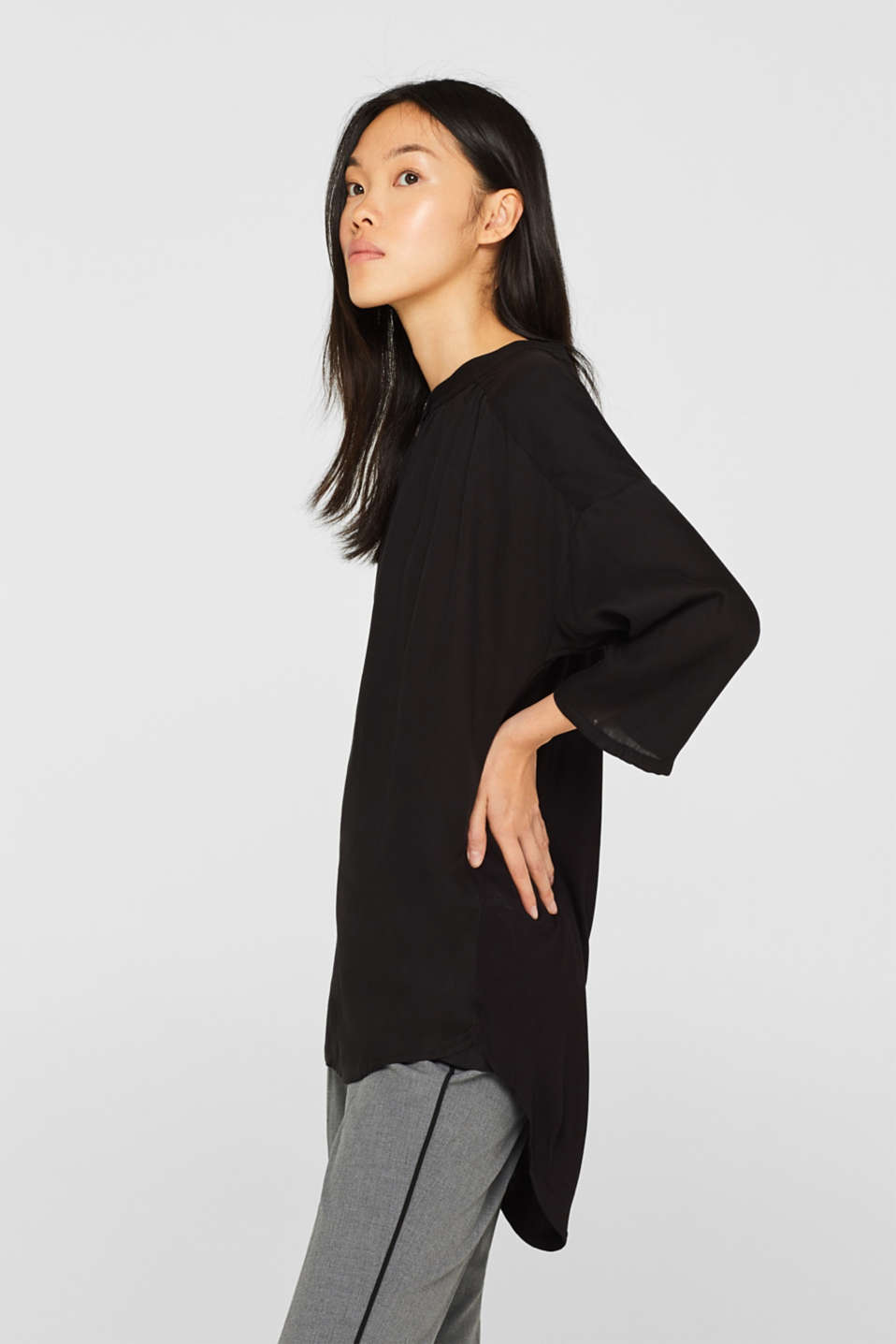 Blouse made of a material mix, BLACK, detail image number 5