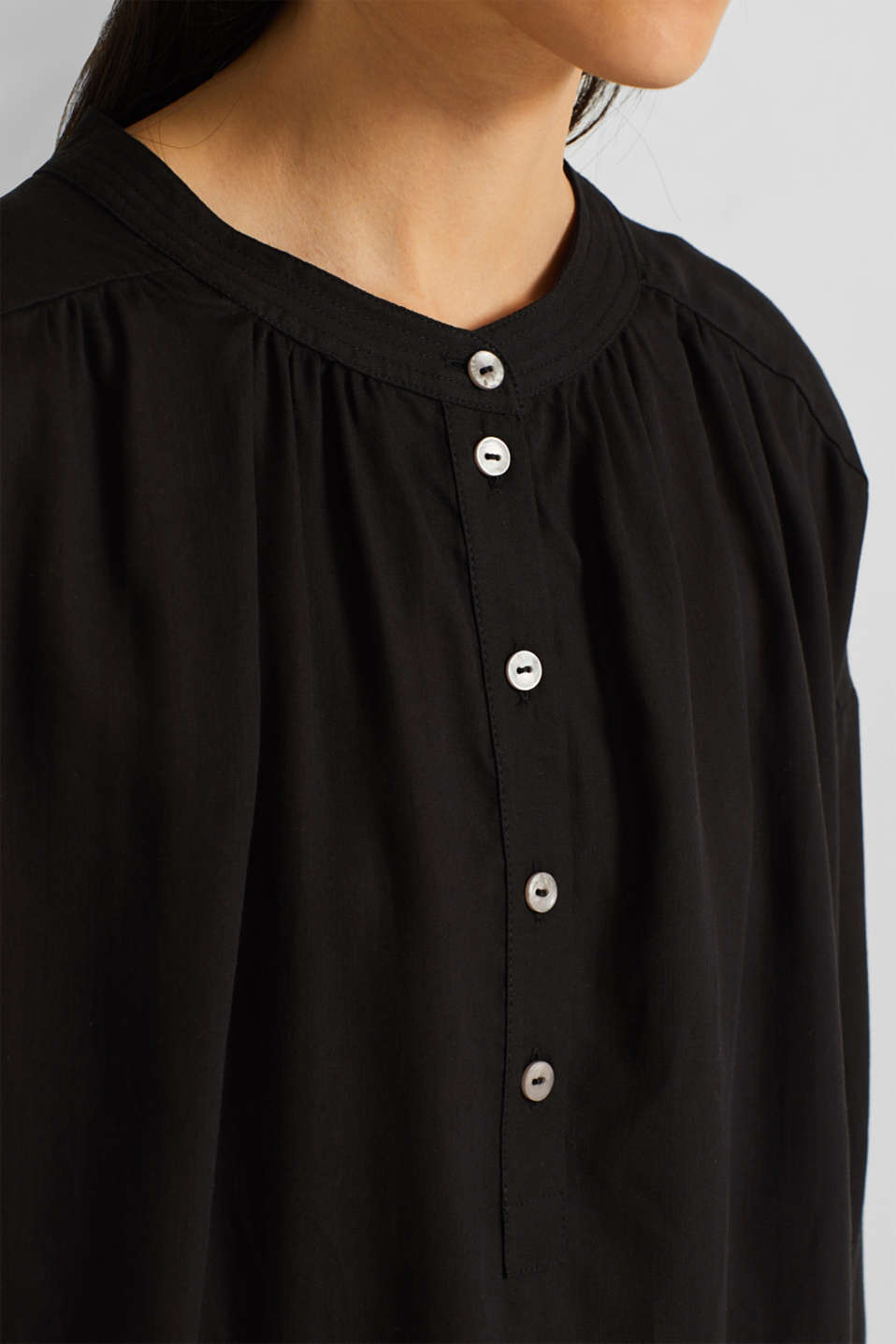 Blouse made of a material mix, BLACK, detail image number 2