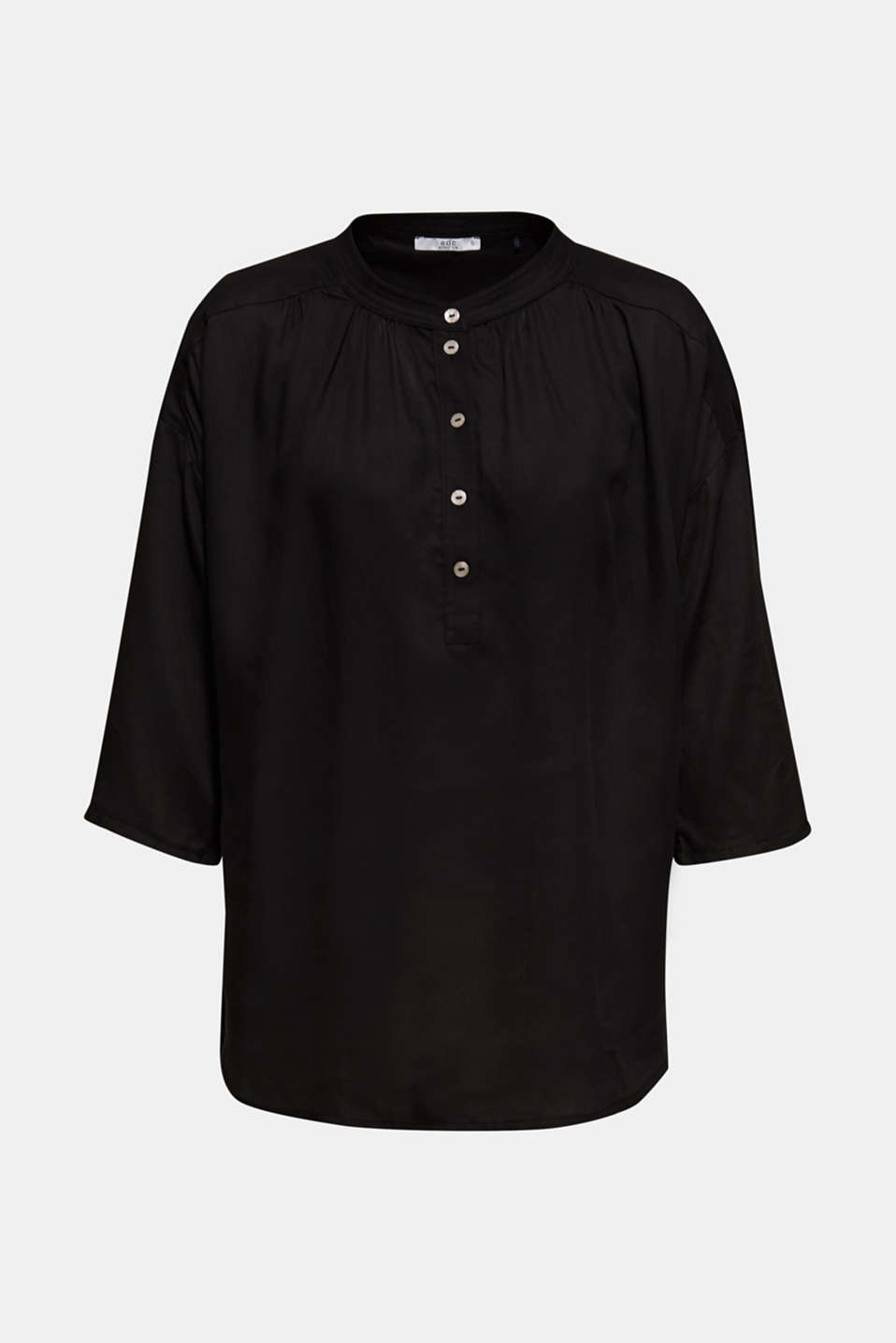 Blouse made of a material mix, BLACK, detail image number 6