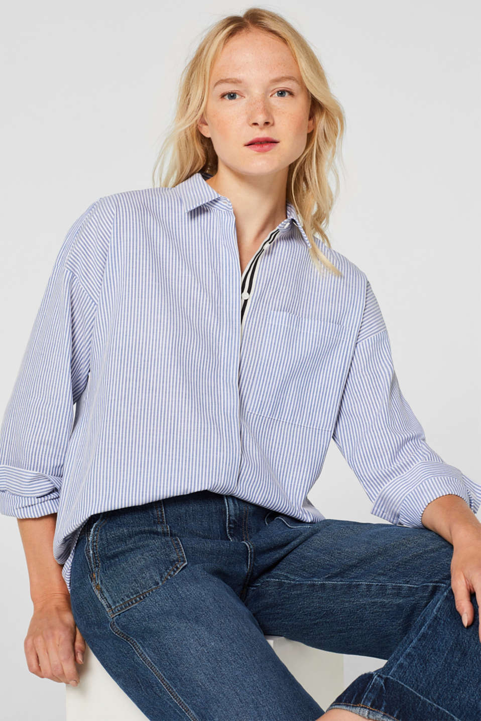 Striped shirt made of 100% cotton, LIGHT BLUE, detail image number 0
