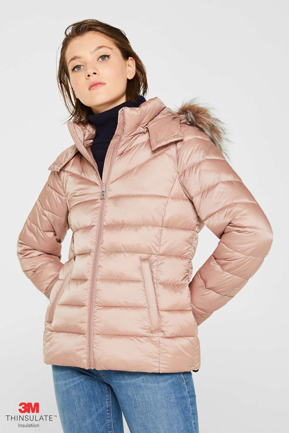 Hooded quilted jacket with 3M™ Thinsulate™ filling, OLD PINK, detail image number 0