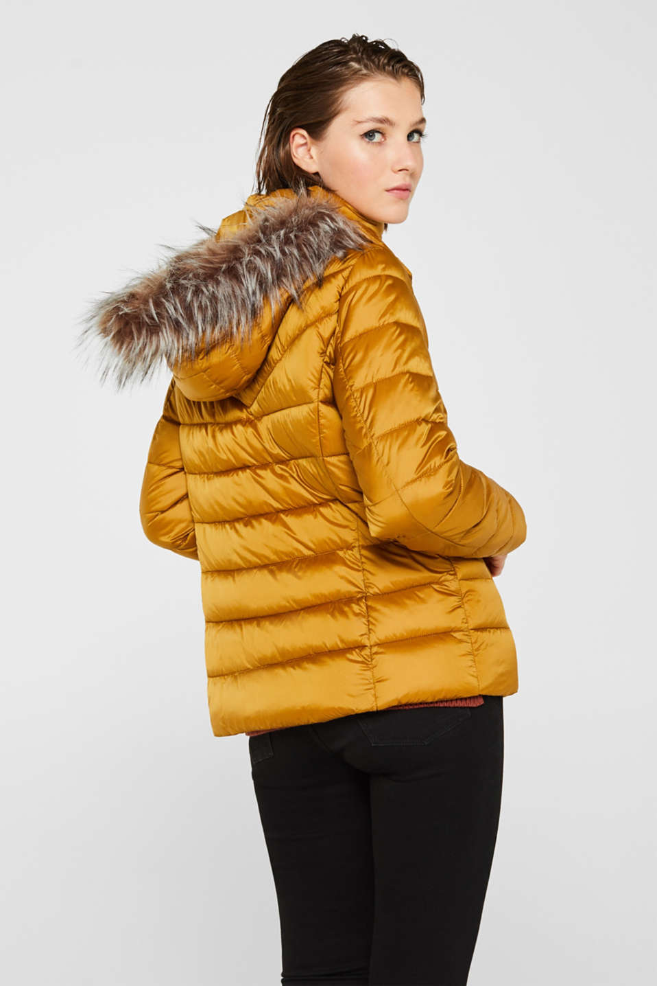 Hooded quilted jacket with 3M™ Thinsulate™ filling, AMBER YELLOW, detail image number 2