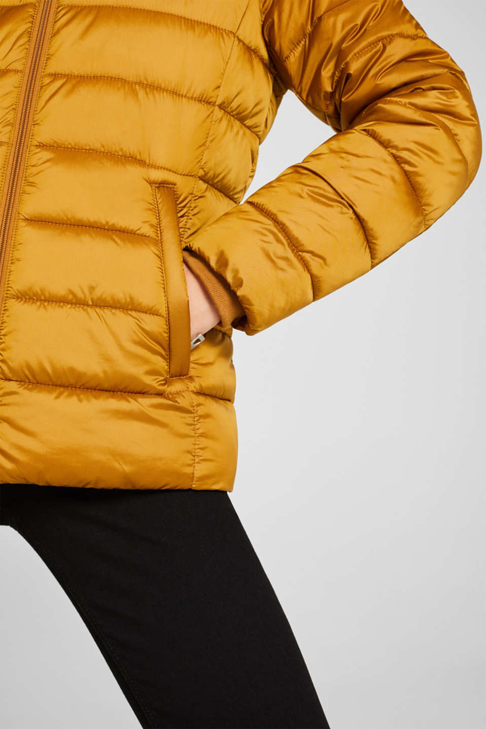 Hooded quilted jacket with 3M™ Thinsulate™ filling, AMBER YELLOW, detail image number 4