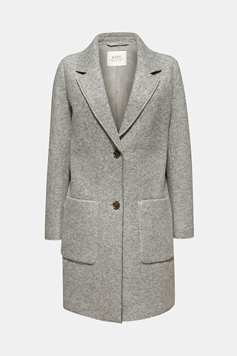 Made of blended wool: blazer coat