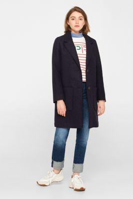 Made of blended wool: blazer coat, NAVY, detail