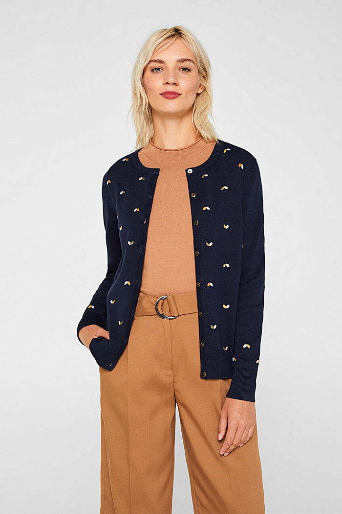 Cardigan with embroidery, 100% cotton, NAVY, detail image number 0