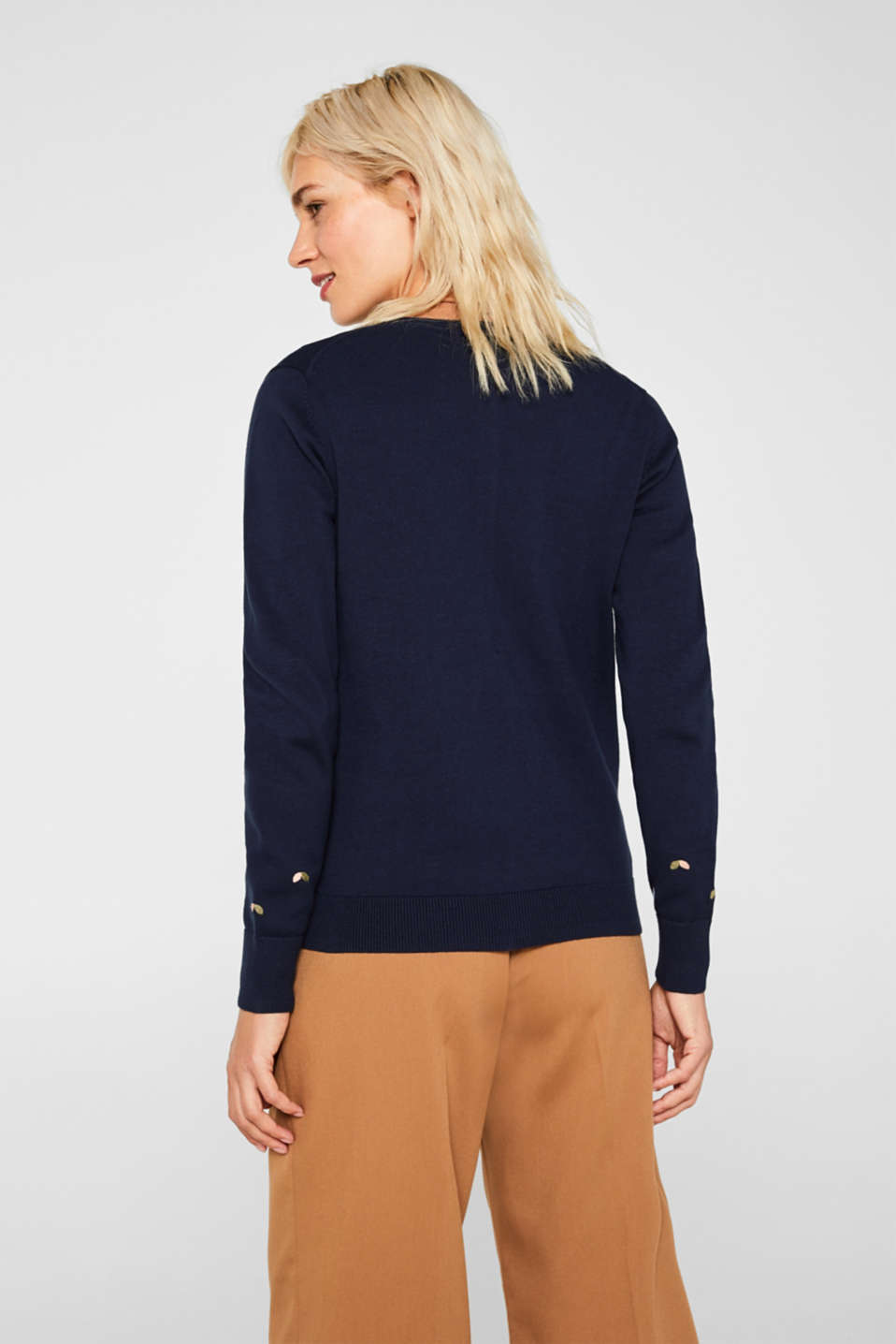 Cardigan with embroidery, 100% cotton, NAVY 2, detail image number 3