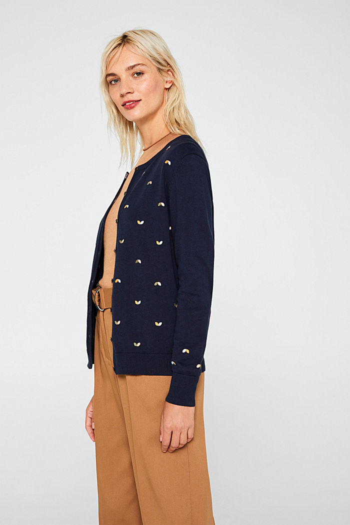 Cardigan with embroidery, 100% cotton, NAVY, detail image number 6