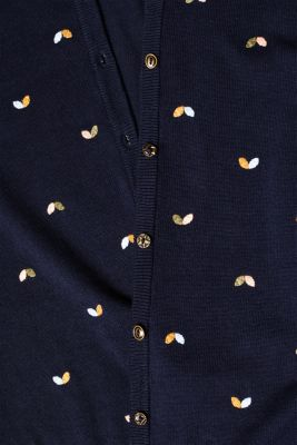 Cardigan with embroidery, 100% cotton, NAVY 2, detail