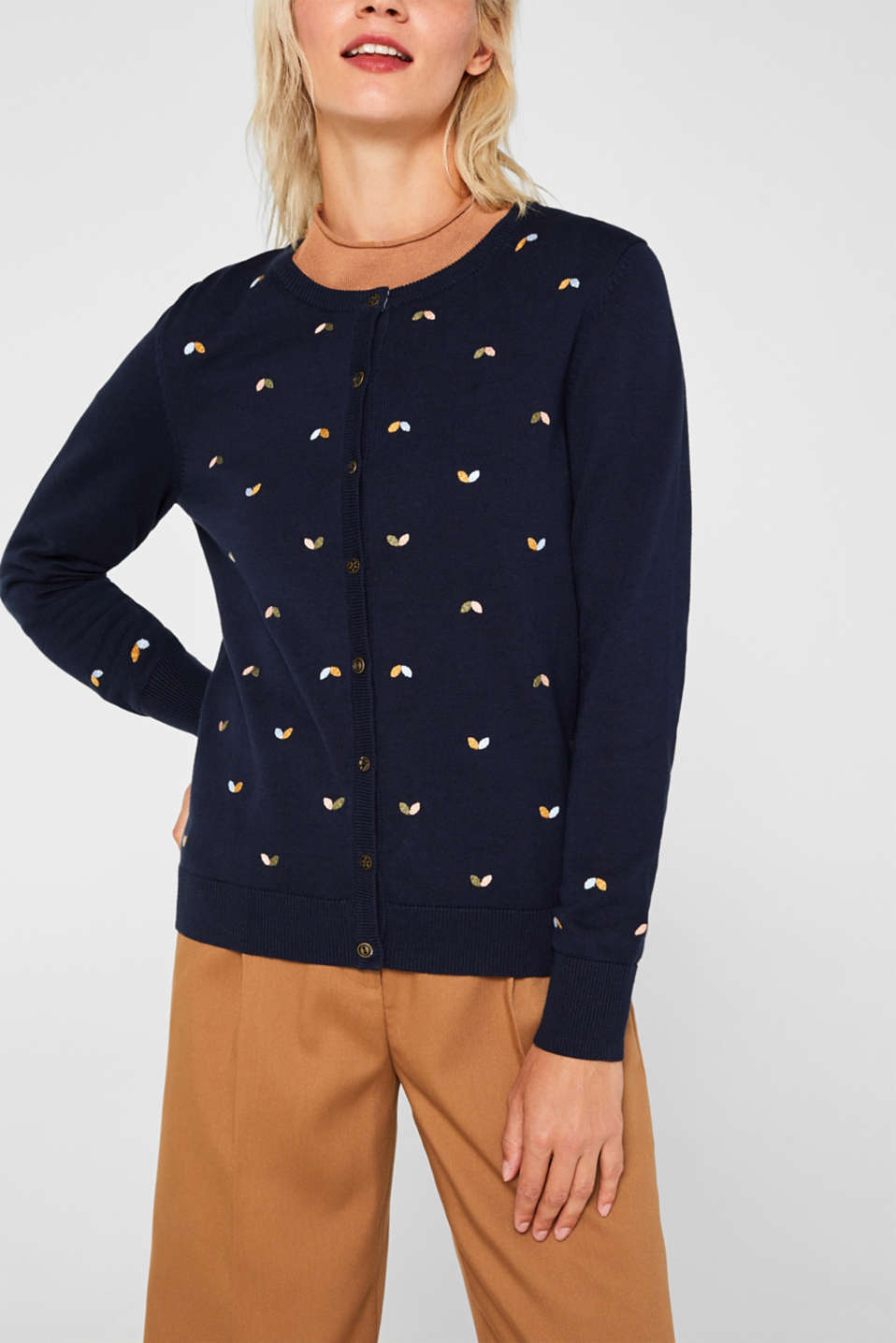 Cardigan with embroidery, 100% cotton, NAVY 2, detail image number 5