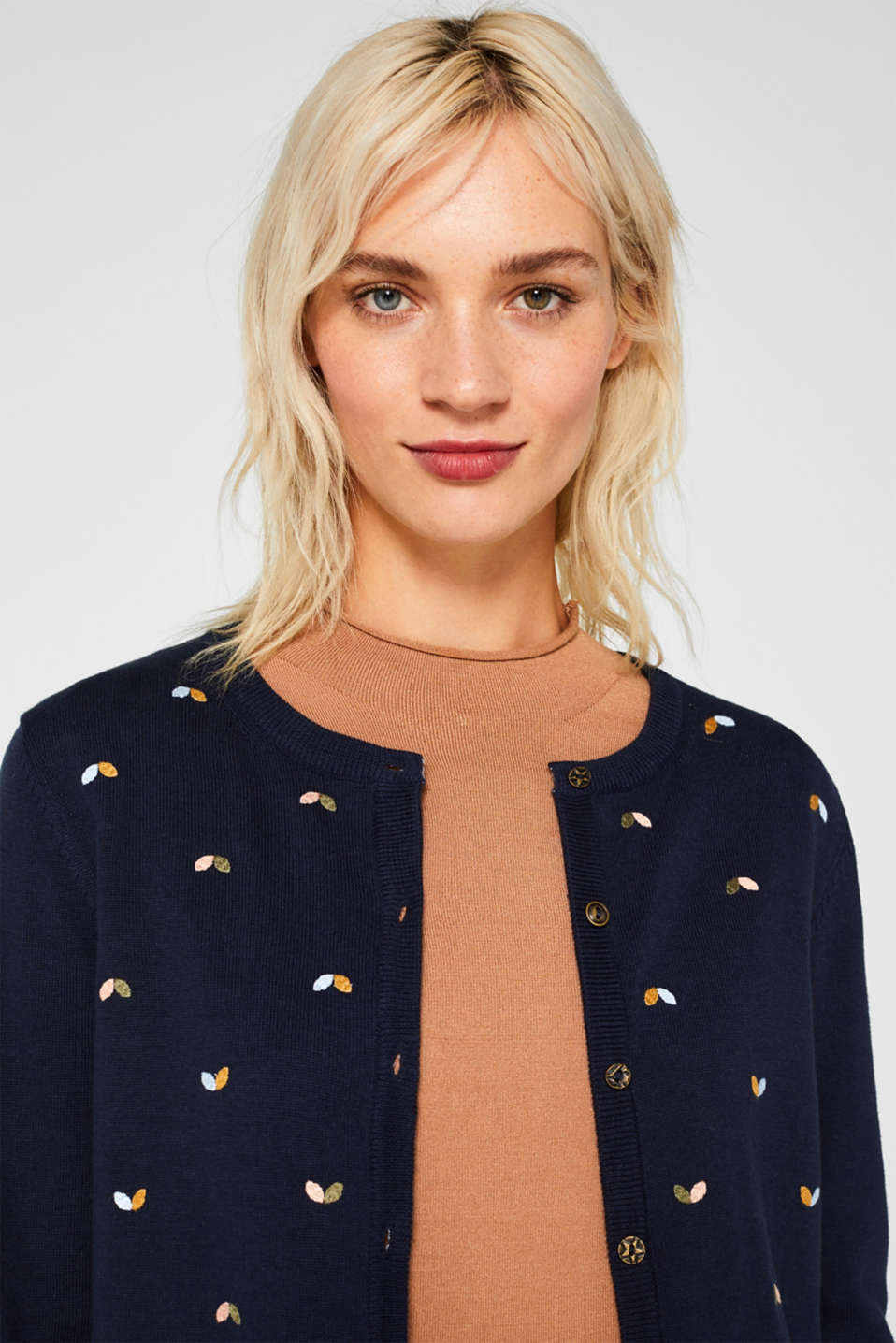 Cardigan with embroidery, 100% cotton, NAVY 2, detail image number 7